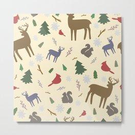 Winter Forest Animals Metal Print