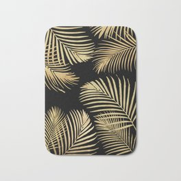 Gold Palm Leaves on Black Bath Mat