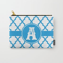 Blue Monogram: Letter A Carry-All Pouch