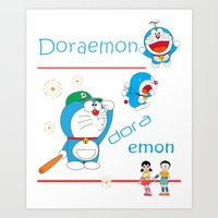 doraemon Art Prints featuring Doraemon Charming by Timeless-Id