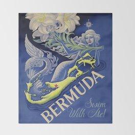 Vintage Mermaid Bermuda Throw Blanket