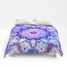 tie dye mandala in blue hues Comforters