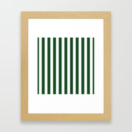 Large Forest Green and White Rustic Vertical Beach Stripes Framed Art Print
