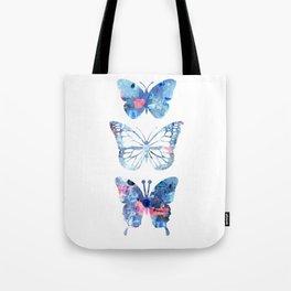 Butterflies Three Blue Clothes Women Tote Bag