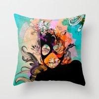 superheroes Throw Pillows featuring Superheroes SF by Irmak Akcadogan
