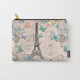 Paris - my love - France Nostalgy- pink French Vintage Carry-All Pouch