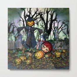 Zombie Pumpkin Chomper Metal Print