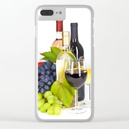 Fresh grape  and wine isolated on white Clear iPhone Case
