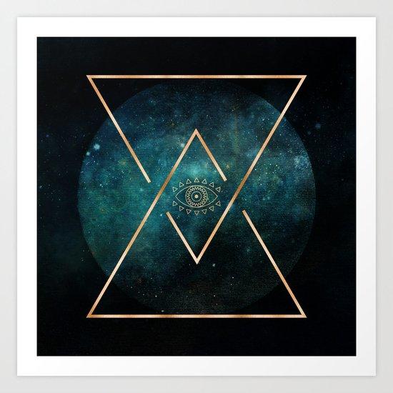 Eye Moon Gold Geometric Tribal Bohemian Mandala Art Print