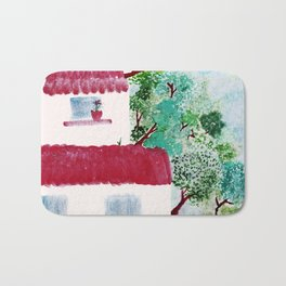 Village houses in the woods watercolor Bath Mat
