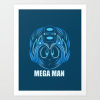 megaman Art Prints featuring MegaMan by Kush Wright