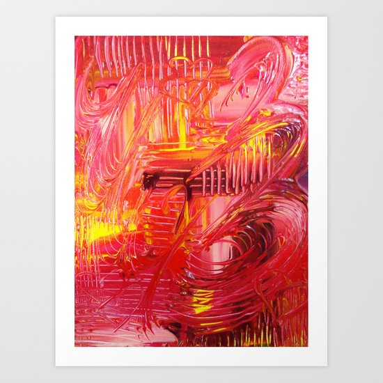 THE TANGO - BOLD Bright and Beautiful, Modern Abstract Painting Dance Home Decor Red Yellow Art Print
