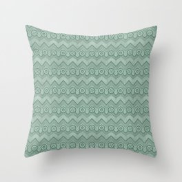 Chevrons and Sprockets - Mint Green Repeating Pattern Throw Pillow