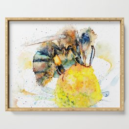 the honey bee and the daisy Serving Tray