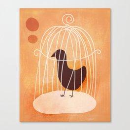 Peach Crow Bird In a Cage Canvas Print