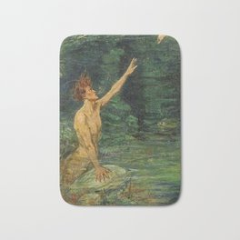 Merman Reaching Up By Myrtle Florence Broome Bath Mat