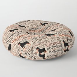 Rottweiler silhouette and word art pattern Floor Pillow