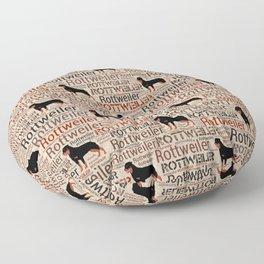 Rottweiler silhouette and word art pattern Floor Pillow