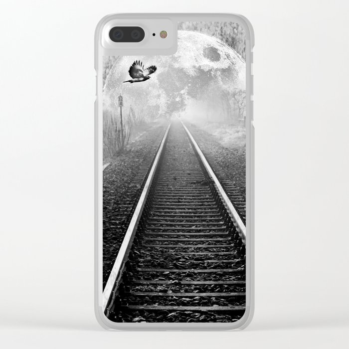 Railway to the moon in b&w Clear iPhone Case
