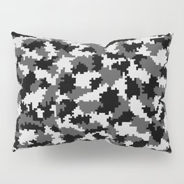 Camouflage Digital Black and White Pillow Sham