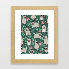 Pugs and summer flowers Framed Art Print