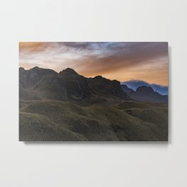 Sunset Scane at Cajas National Park in Cuenca Ecuador Metal Print