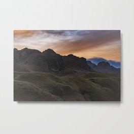 Sunset Scane at Cajas National Park in Cuenca Ecuador Metal Print