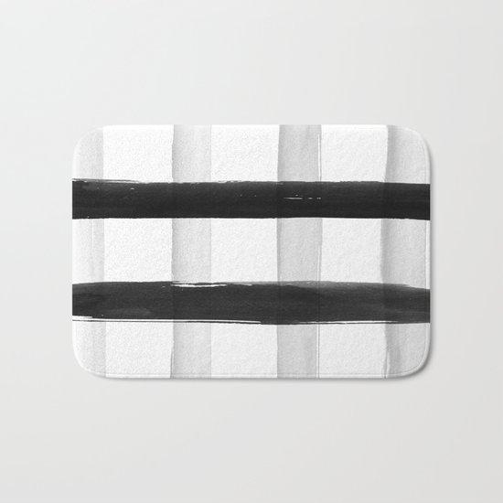Black and White Brush Strokes Bath Mat