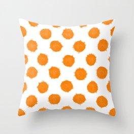 Orange Polka Dot Ink Spots Throw Pillow