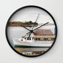 Lobster Boat and Traps Wall Clock