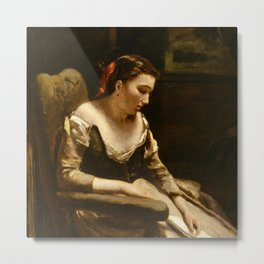 "Jean-Baptiste-Camille Corot ""The Letter"" Metal Print"