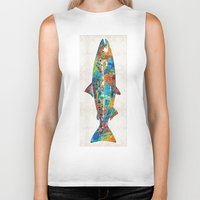 spawn Biker Tanks featuring Fish Art Print - Colorful Salmon - By Sharon Cummings by Sharon Cummings
