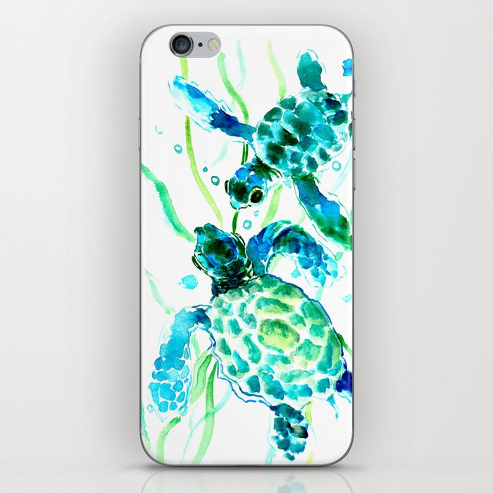 Sea Turtles, Turquoise blue Design iPhone Skin