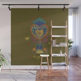 Mexican Heart Tassel (Corazon) - Green Wall Mural
