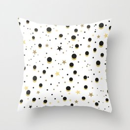 Two Colors Circles. Gold, Yellow and Black Stars and Circles With White Background Throw Pillow