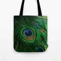 peacock Tote Bags featuring Peacock by Olivia Joy StClaire