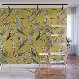 dog party indigo yellow Wall Mural