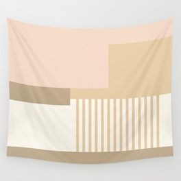 Sol Abstract Geometric Print in Tan Wall Tapestry