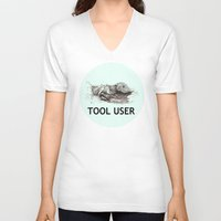 tool V-neck T-shirts featuring Tool User by ewig