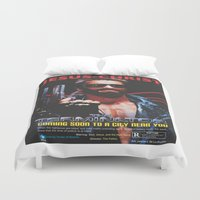 terminator Duvet Covers featuring God's Terminator by Jessie J. De La Portillo