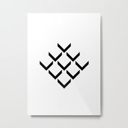 3D PFEILE EFFEKT – geometrische Wandposter schwarz weiss Metal Print