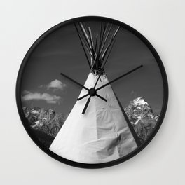 Tipi against snow capped Mountains Wall Clock