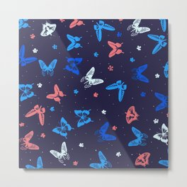 Butterfly fly away seamless pattern Metal Print