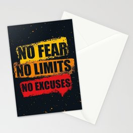 No fear No limits No excuses Stationery Cards