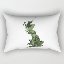 Great Britain Map Print Abstract in Army Camouflage Greens - A great talking piece for the home! Rectangular Pillow