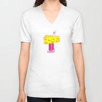 cheese V-neck T-shirts featuring Cheese by Wesley Fry