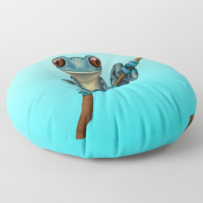 Cute Blue Tree Frog on a Branch Floor Pillow
