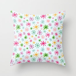 Brightly Colored Snowflakes Throw Pillow