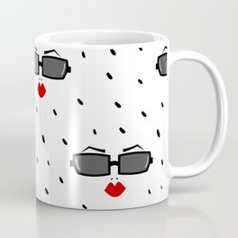 cute pattern with woman sunglasses and red lips Coffee Mug