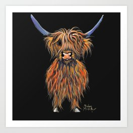 Scottish Highland Cow ' NED ' by Shirley MacArthur Art Print